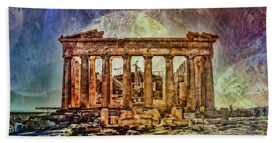 The Acropolis Of Athens Bath Sheet featuring the photograph The Acropolis Of Athens by Justyna JBJart