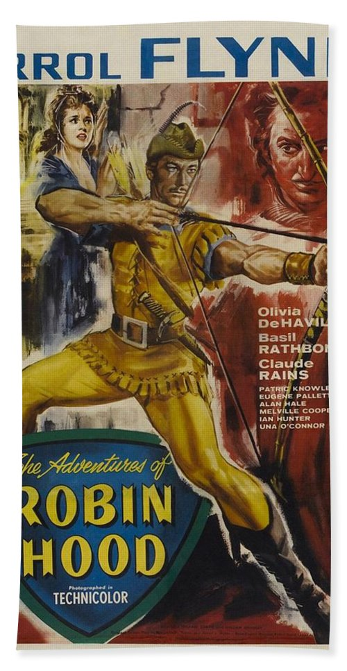 Errol Flynn Bath Sheet featuring the photograph The Adventures Of Robin Hood by Movie Poster Prints