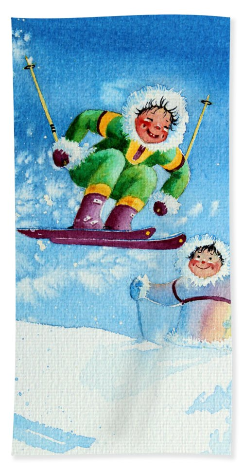 Kids Art For Ski Chalet Hand Towel featuring the painting The Aerial Skier - 10 by Hanne Lore Koehler