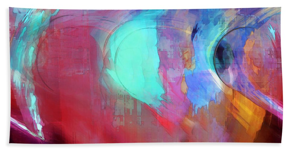 Abstract Bath Towel featuring the digital art The Afterglow by Linda Sannuti