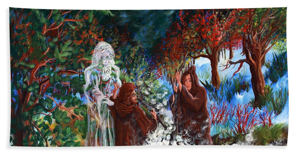 Spiritual Hand Towel featuring the painting The Alchemists by Joyce Jackson