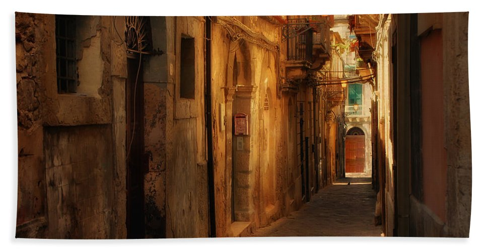 Alley Bath Sheet featuring the photograph The Alley by Mike Nellums