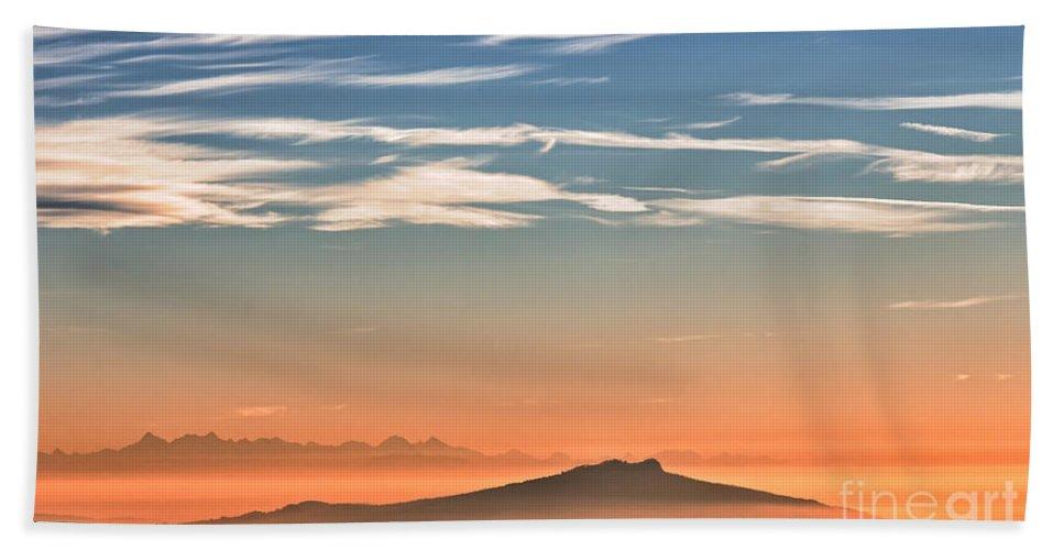 Sunset Bath Sheet featuring the photograph The Alps Sunset Over Fog by Bernd Laeschke