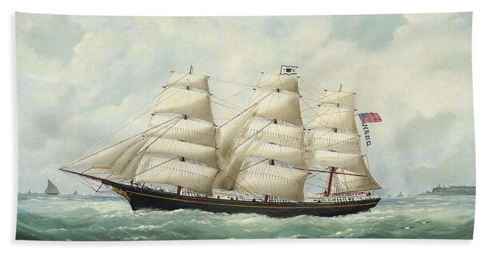 Edouard Adam Bath Sheet featuring the painting The American Ship Olive S Southard Of San Francisco In French Waters Off Le Havre by Edouard Adam