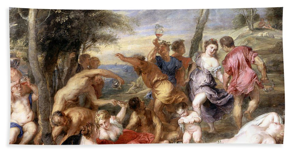 Titian's Original In Prado; Andrian; Andros; Bacchanale; Bacchic; Revelry; Drinking; Landscape; Drunk; Female; Nude; Party; Merrymaking; River Of Wine; Bacchanalian; Bacchanal; Dionysian Hand Towel featuring the painting The Andrians A Free Copy After Titian by Peter Paul Rubens