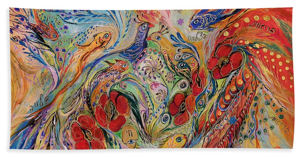 Original Bath Sheet featuring the painting The Anemon Flowers by Elena Kotliarker