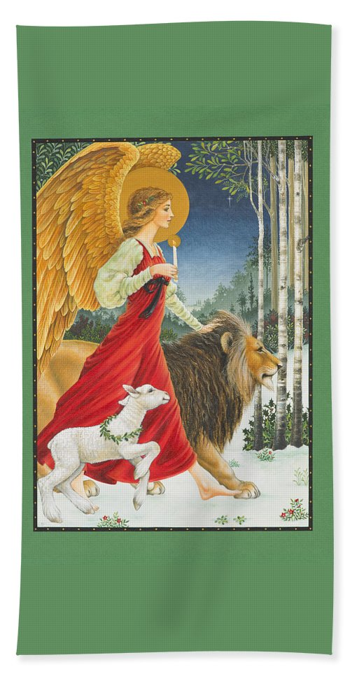 Angel Bath Towel featuring the painting The Angel The Lion And The Lamb by Lynn Bywaters