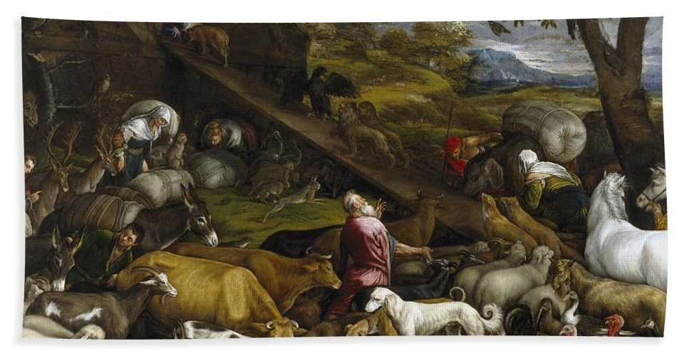 Jacopo Bassano Bath Sheet featuring the painting The Animals Entering Noah's Ark by Jacopo Bassano