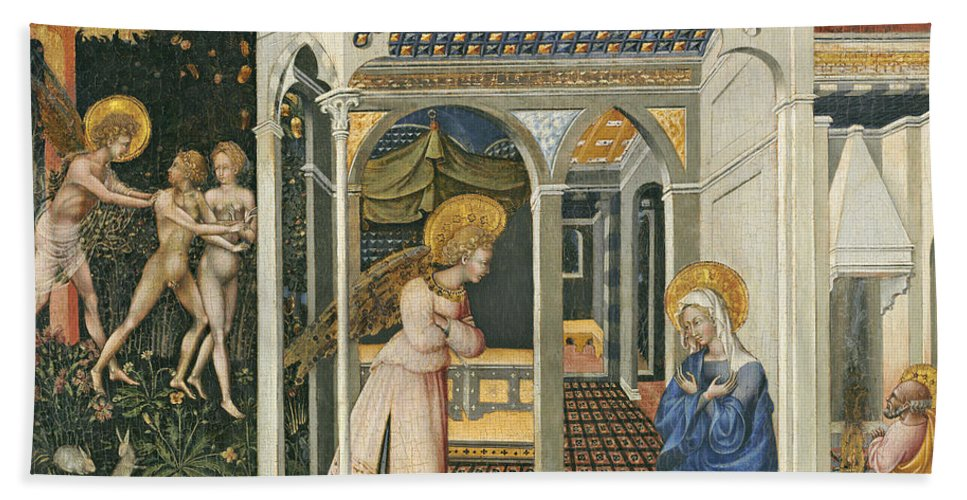 Angel Bath Towel featuring the painting The Annunciation And Expulsion From Paradise by Giovanni di Paolo di Grazia