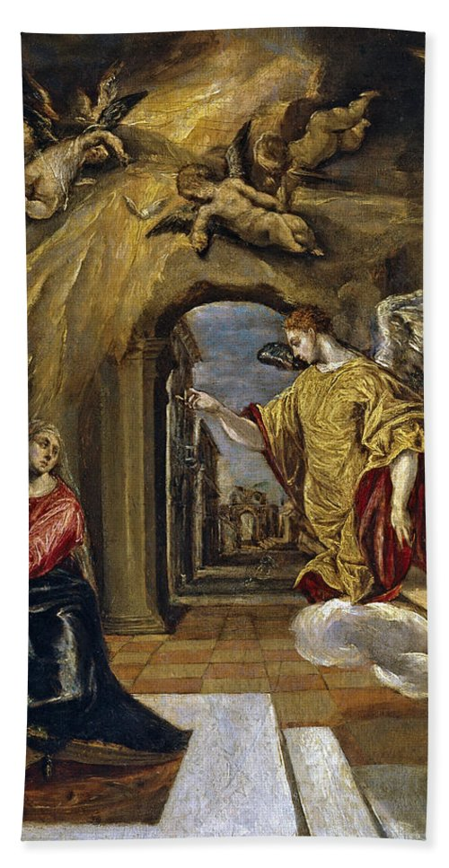 El Greco Hand Towel featuring the painting The Annunciation by El Greco