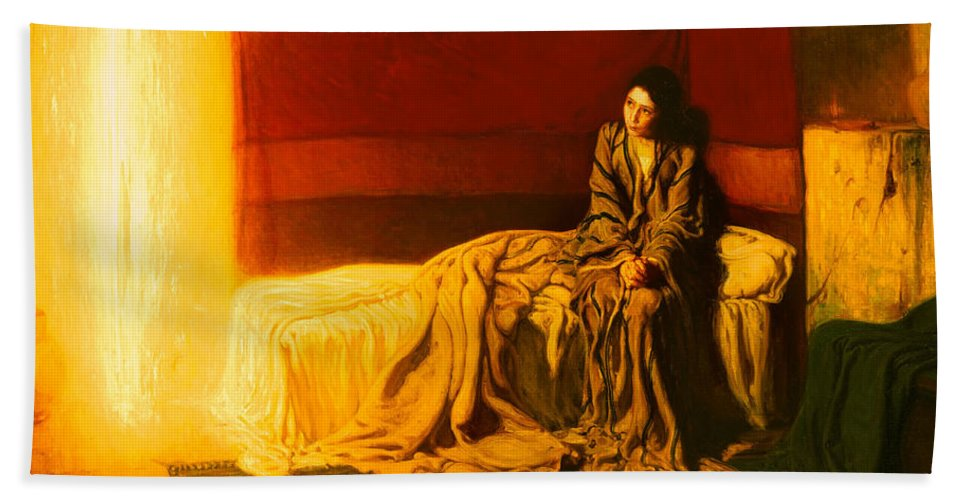 Painting Bath Towel featuring the painting The Annunciation by Mountain Dreams