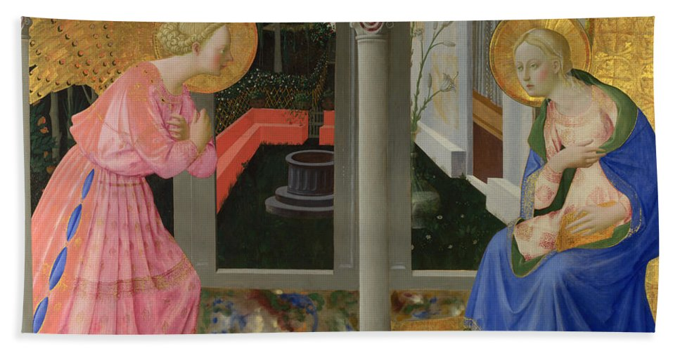 Zanobi Strozzi Hand Towel featuring the painting The Annunciation by Zanobi Strozzi