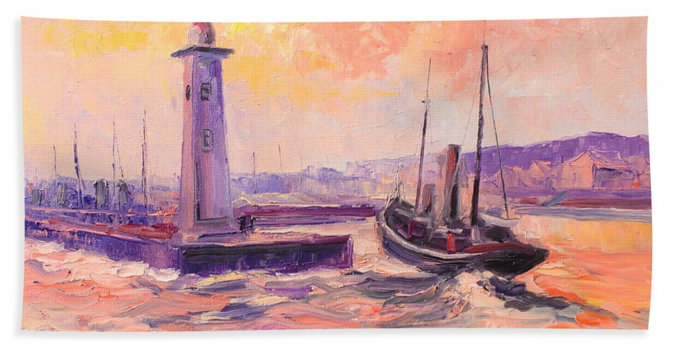 Anstruther Bath Sheet featuring the painting The Anstruther Harbour by Luke Karcz