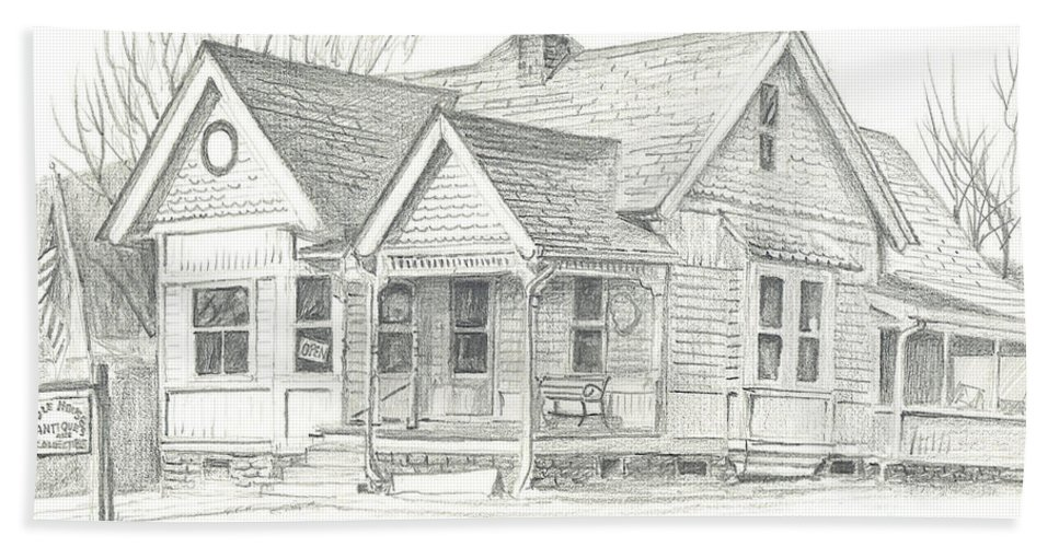 The Antique Shop Hand Towel featuring the drawing The Antique Shop by Kip DeVore
