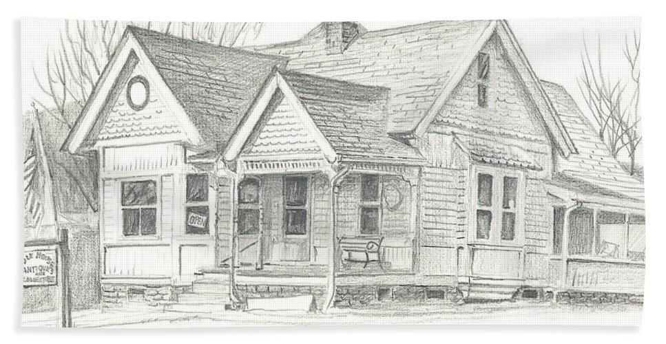 The Antique Shop Bath Towel featuring the drawing The Antique Shop by Kip DeVore