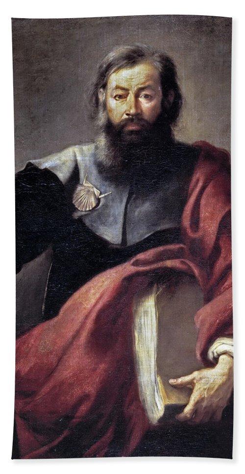 Bartolome Esteban Murillo Hand Towel featuring the painting The Apostle Saint James by Bartolome Esteban Murillo