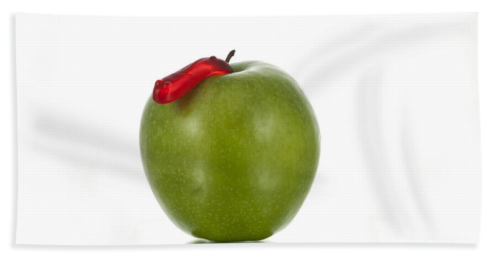 Apple Bath Sheet featuring the photograph The Apple And The Worm by Juli Scalzi