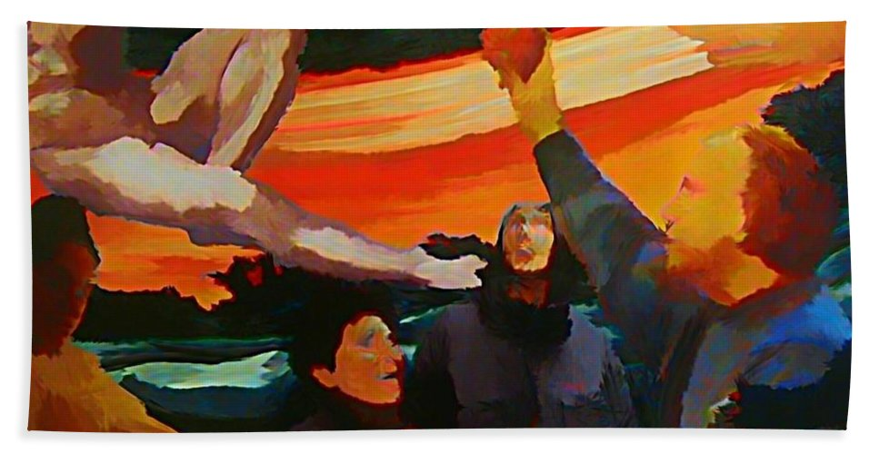 Apple Hand Towel featuring the painting The Apple by John Malone