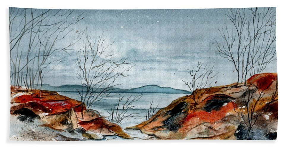 Watercolor Hand Towel featuring the painting The Approaching Evening by Brenda Owen