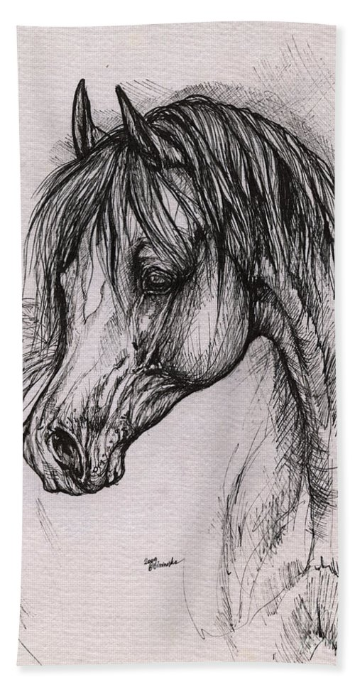 Arabian Horse Hand Towel featuring the drawing The Arabian Horse With Thick Mane by Angel Ciesniarska