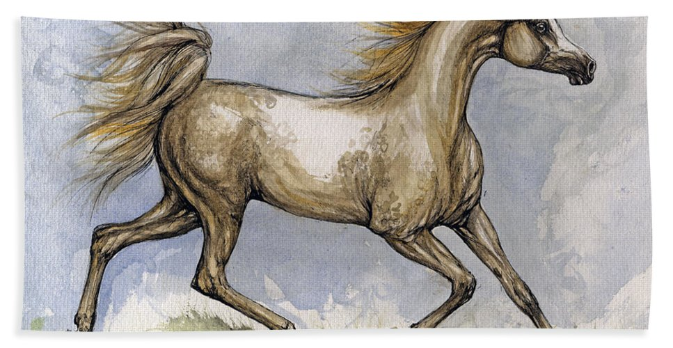 Mare Hand Towel featuring the painting The Arabian Mare Running by Angel Tarantella