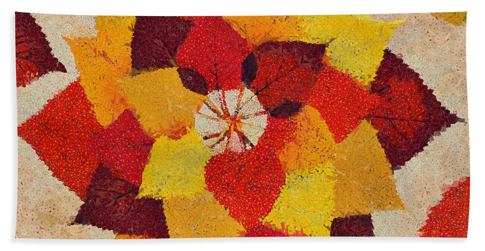 Fall Hand Towel featuring the mixed media The Artistry Of Fall Klimt Homage by Angelina Vick