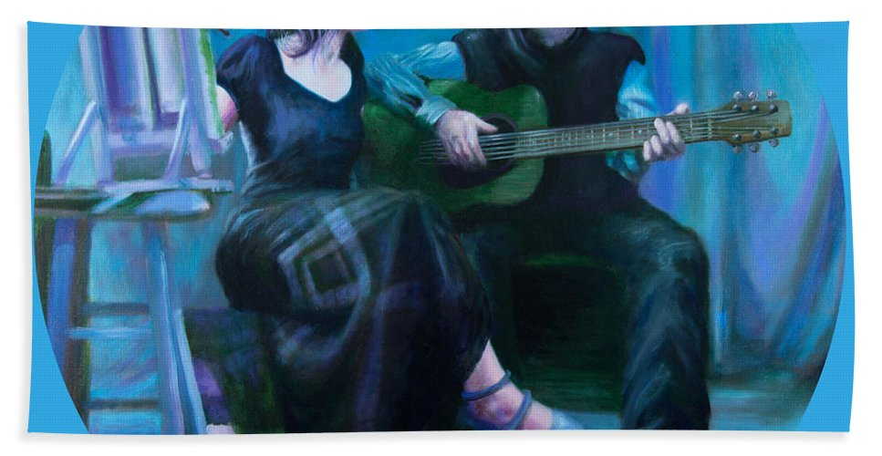 Shelley Irish Bath Sheet featuring the painting The Artists by Shelley Irish