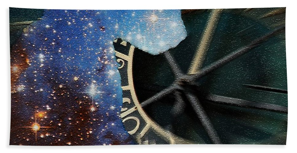The Astronomers Cat Bath Sheet featuring the digital art The Astronomer's Cat by Elizabeth McTaggart