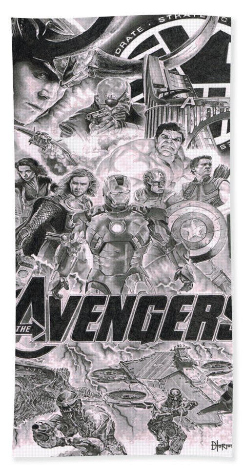 Ironman Bath Sheet featuring the drawing The Avengers by David Horton