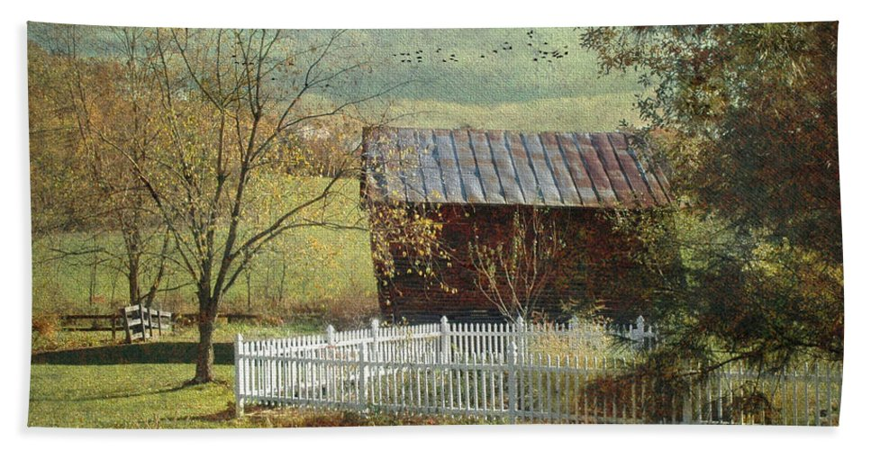 Barns Hand Towel featuring the photograph The Backyard by Fran J Scott