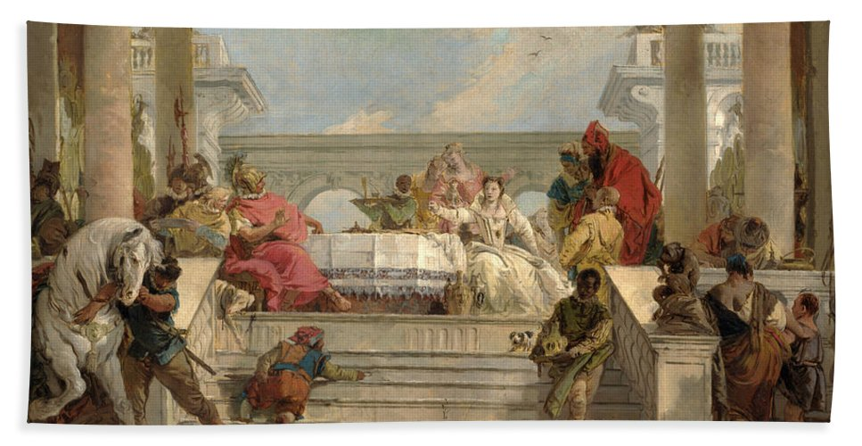 Giovanni Battista Tiepolo Bath Sheet featuring the painting The Banquet Of Cleopatra by Giovanni Battista Tiepolo