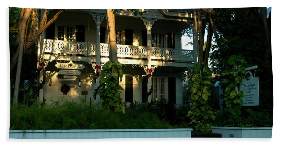 Key West Hand Towel featuring the photograph The Banyan House Resort In Key West by Susanne Van Hulst