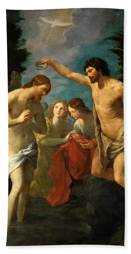 Guido Reni Bath Sheet featuring the painting The Baptism Of Christ by Guido Reni