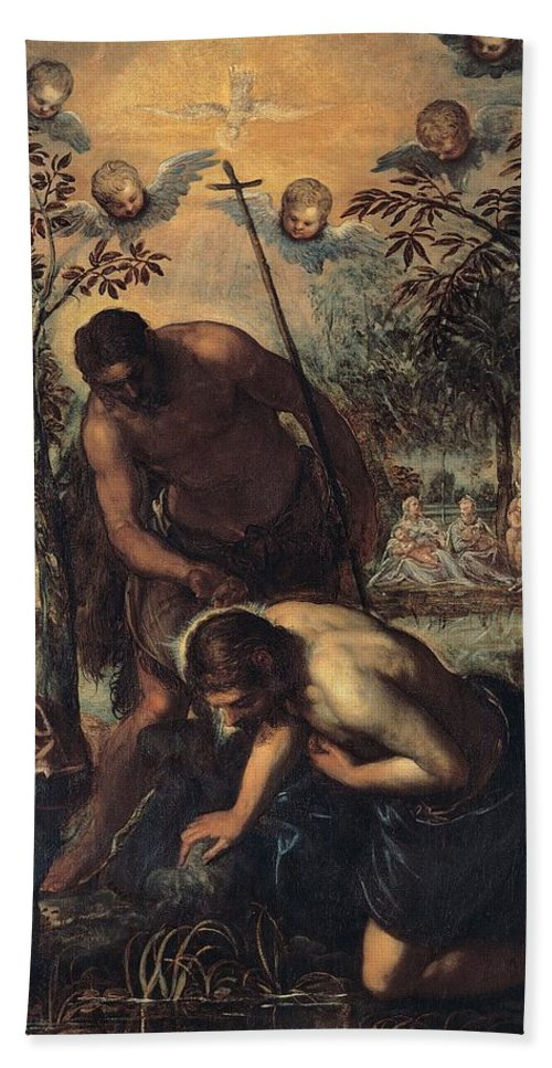 1585 Hand Towel featuring the painting The Baptism Of Christ by Tintoretto