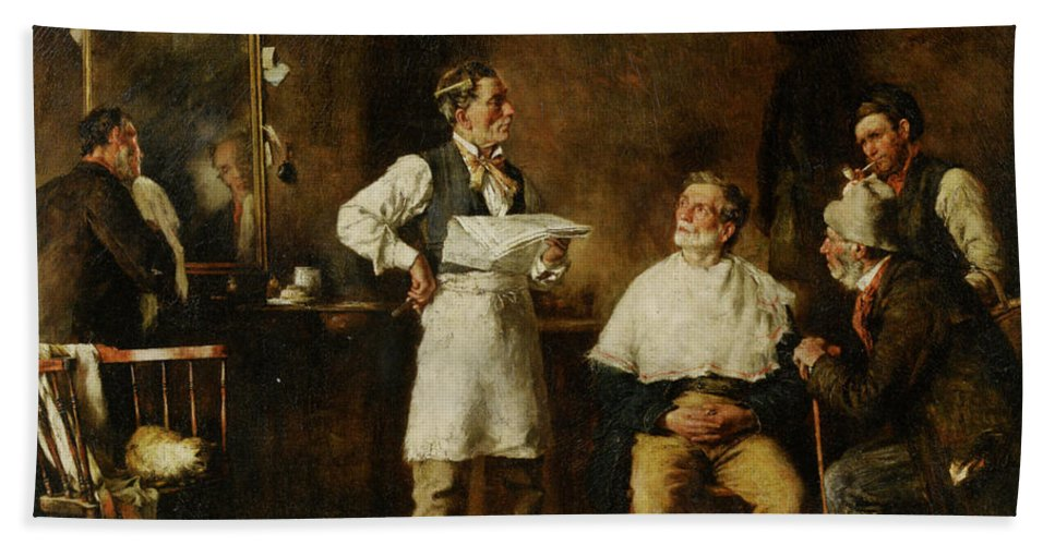 George Elgar Hicks Hand Towel featuring the digital art The Barbers Shop by George Elgar Hicks