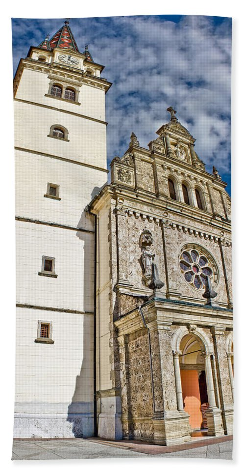 Abbey Hand Towel featuring the photograph The Basilica In Mary Of Bistrica by Brch Photography