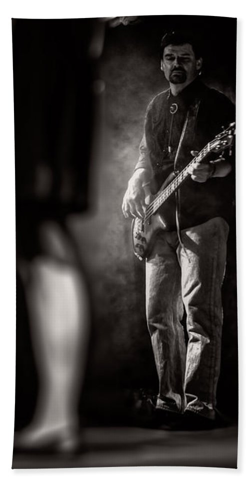 Bass Bath Sheet featuring the photograph The Bassist by Bob Orsillo