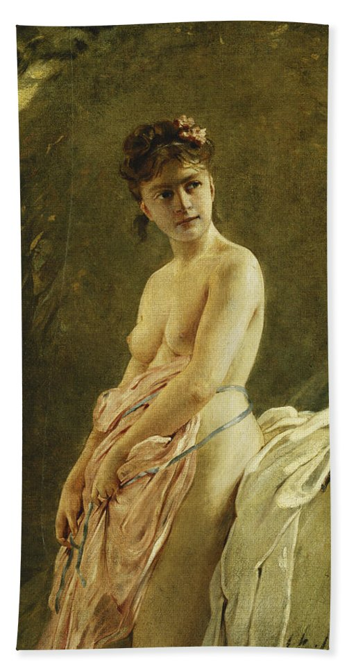 Academic Bath Sheet featuring the painting The Bather by Charles Chaplin