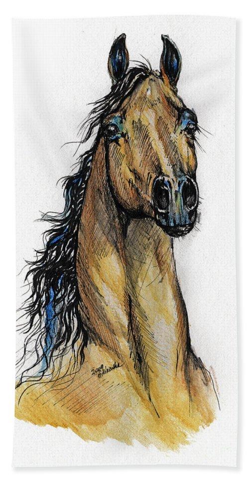 Arab Hand Towel featuring the painting The Bay Arabian Horse 13 by Angel Ciesniarska