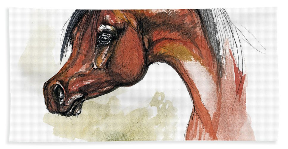 Arab Hand Towel featuring the painting The Bay Arabian Horse 15 by Angel Ciesniarska