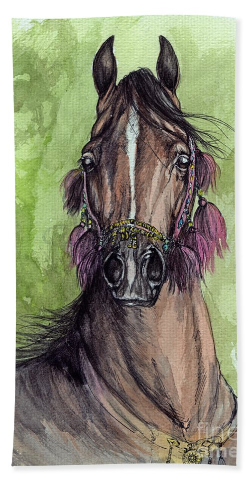 Horse Hand Towel featuring the painting The Bay Arabian Horse 16 by Angel Ciesniarska