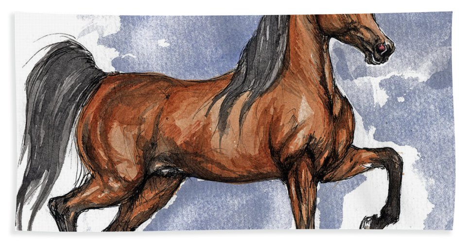 Bay Bath Towel featuring the painting The Bay Arabian Horse 17 by Angel Ciesniarska