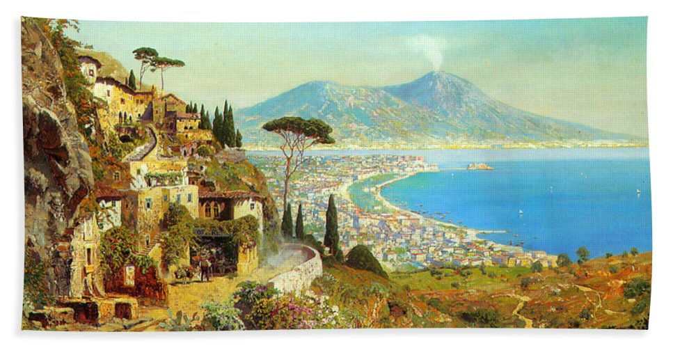 The Bay Of Naples Bath Sheet featuring the digital art The Bay Of Naples by Alois Arnegger