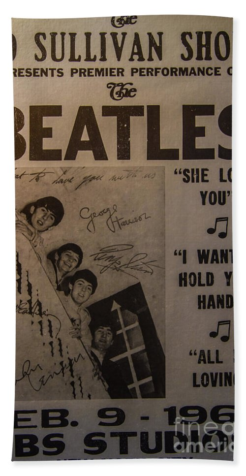 The Beatles Ed Sullivan Show Poster Bath Towel featuring the photograph The Beatles Ed Sullivan Show Poster by Mitch Shindelbower