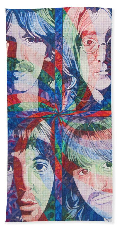 The Beatles Hand Towel featuring the drawing The Beatles Squared by Joshua Morton