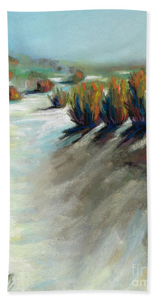 Desert Landscapes Bath Sheet featuring the painting Desert Snow by Frances Marino
