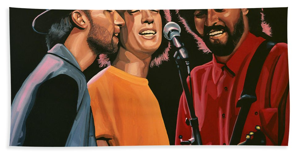 The Bee Gees Bath Towel featuring the painting The Bee Gees by Paul Meijering