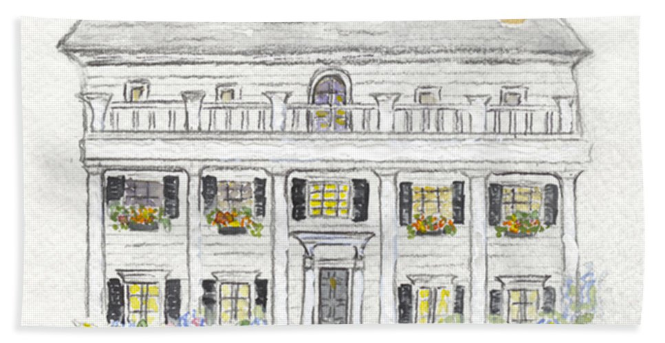 Beekman Arms Rhinebeck Bath Sheet featuring the painting The Beekman Arms In Rhinebeck by AFineLyne
