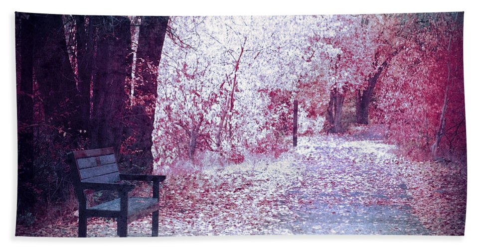 Bench Hand Towel featuring the photograph The Bench Of Promises by Tara Turner
