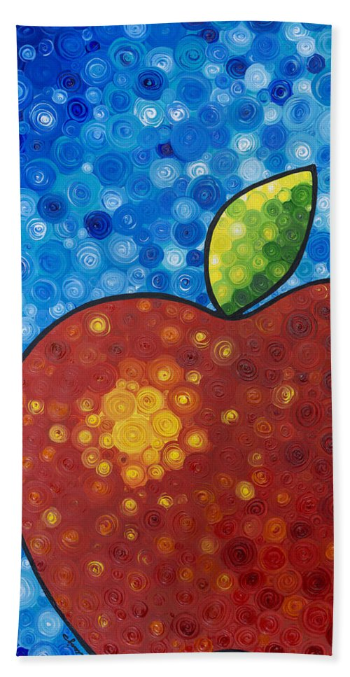 Food And Beverage Art Bath Sheet featuring the painting The Big Apple - Red Apple By Sharon Cummings by Sharon Cummings